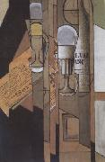 Juan Gris Glasses Newspaper and a Bottle of Wine (nn03) oil painting artist